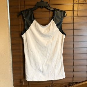 Express faux leather sleeve tank